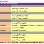 Ammendaed Holiday Dates